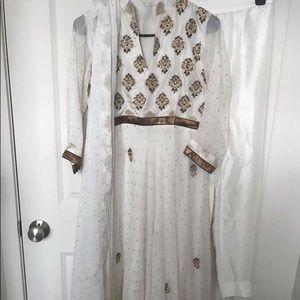 White anarkali Indian dress